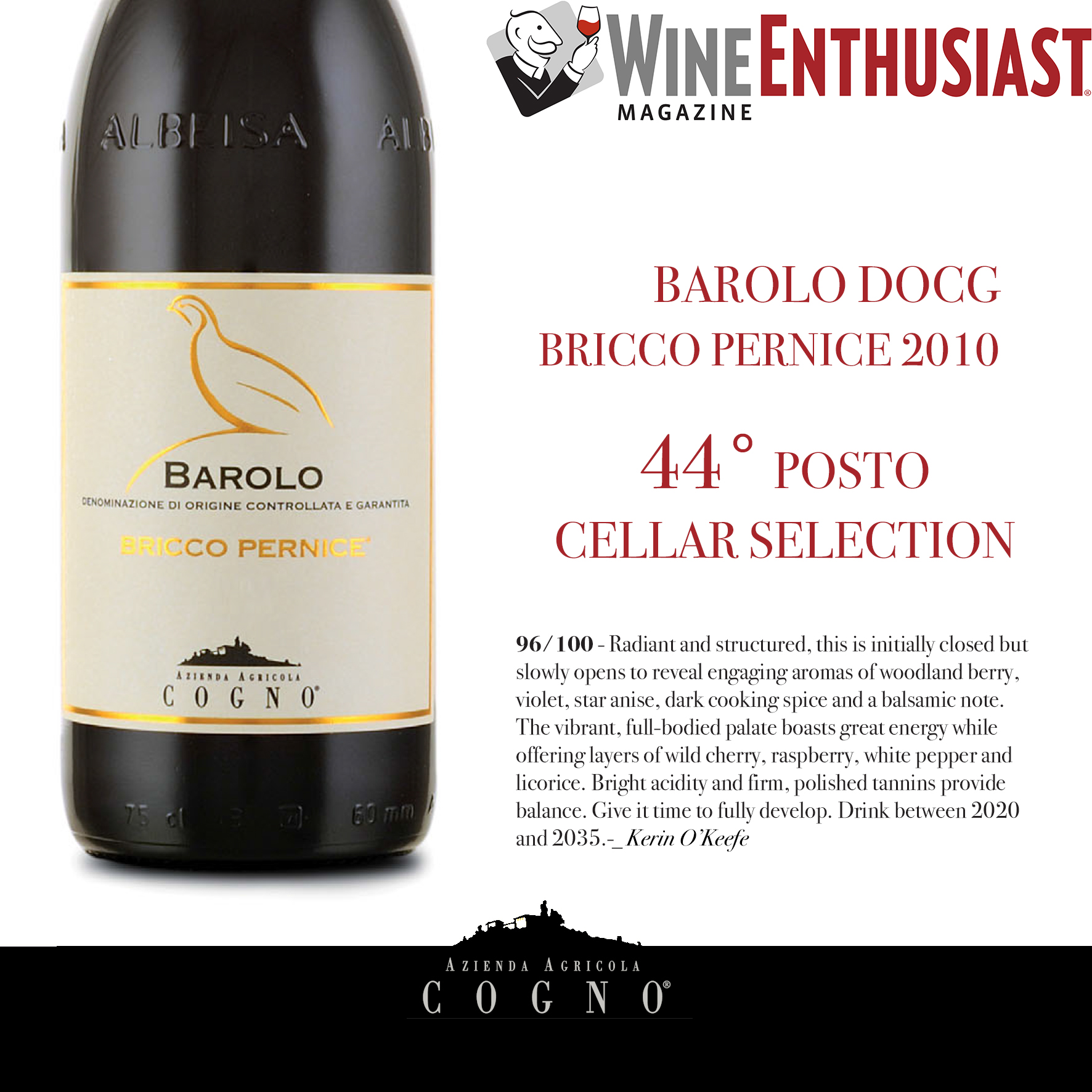 Barolo Bricco Pernice 2010 on Wine Enthusiast Cellar Selection