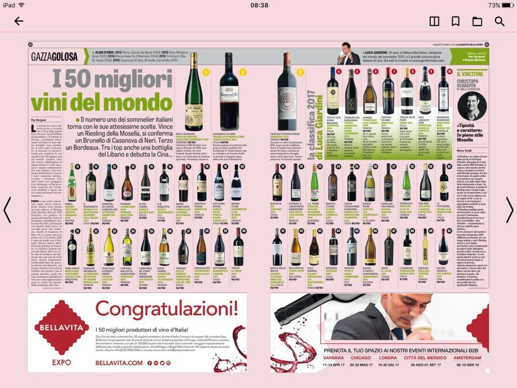 I 50 migliori vini del mondo secondo Luca Gardini