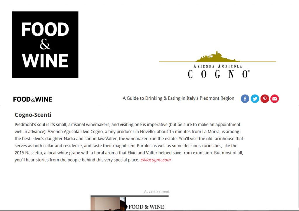 FOOD & WINE – Cogno-scenti