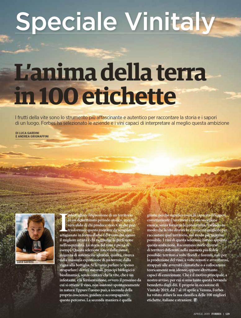 Speciale Vinitaly su Forbes Italia Aprile 2019